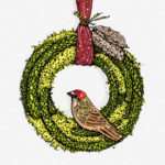 varicolored Christmas fir wreath with a bird, ribbon and feathers, black contour on a white background, vector illustration